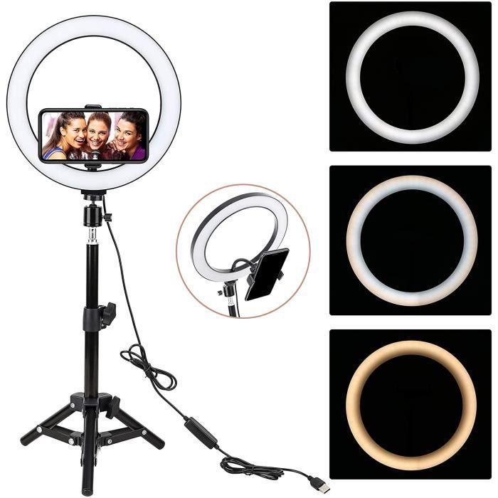 LED Anneau Lumiere, 10 Pouces Selfie Lumiere avec Trépied, Professionnels Lumiere Anneau pour Telephone Caméra Photo Vidéo Self-Port