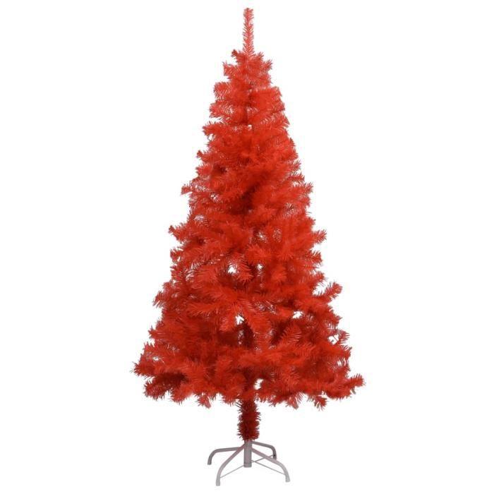 Sapin de Noël artificiel avec support Rouge 150 cm PVC -JIL