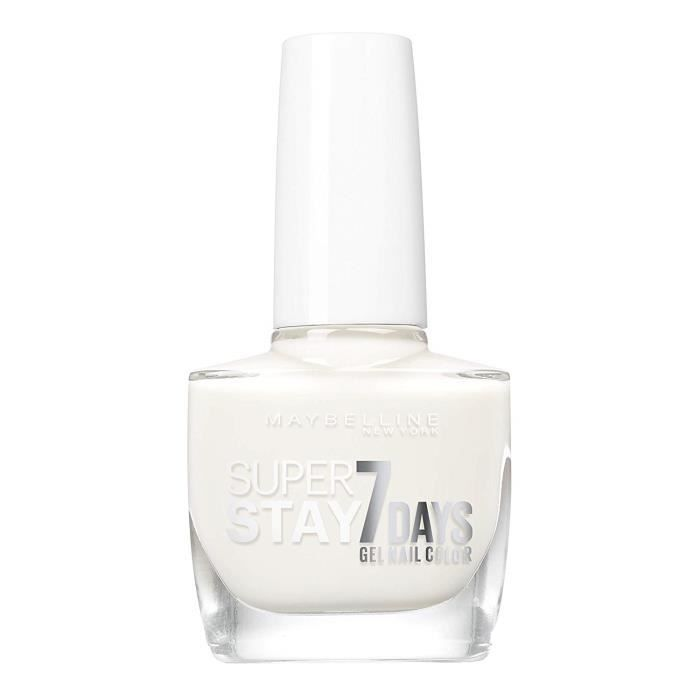 Pure White (71) Maybelline New York – Vernis à Ongles Professionnel – Technologie Gel – Super Stay 7 Days – Teinte : Pure White (71)