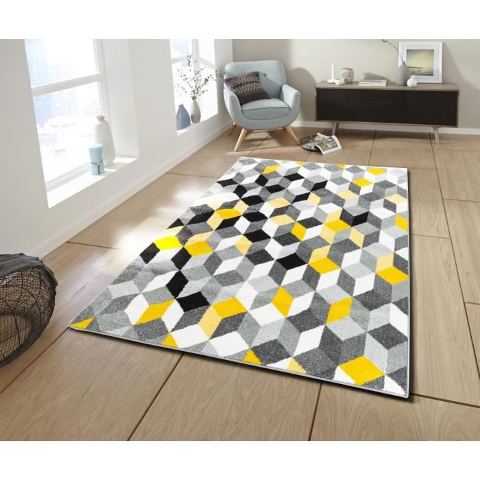 Cara Tapis de salon contemporain multicolore - 200 x 280 cm - jaune