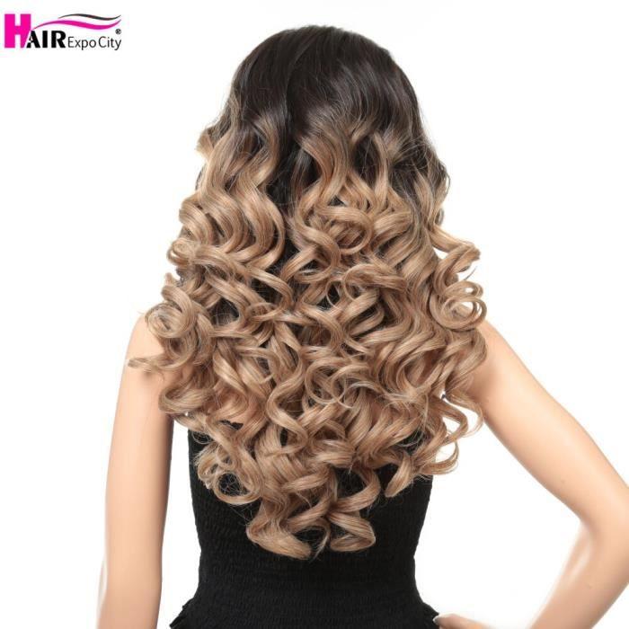Perruque Lace Front Wig synthétique Body Wave longue de 24 pouces, perruque Lace Wig Ombre brune noire pour femmes [F89BC66]