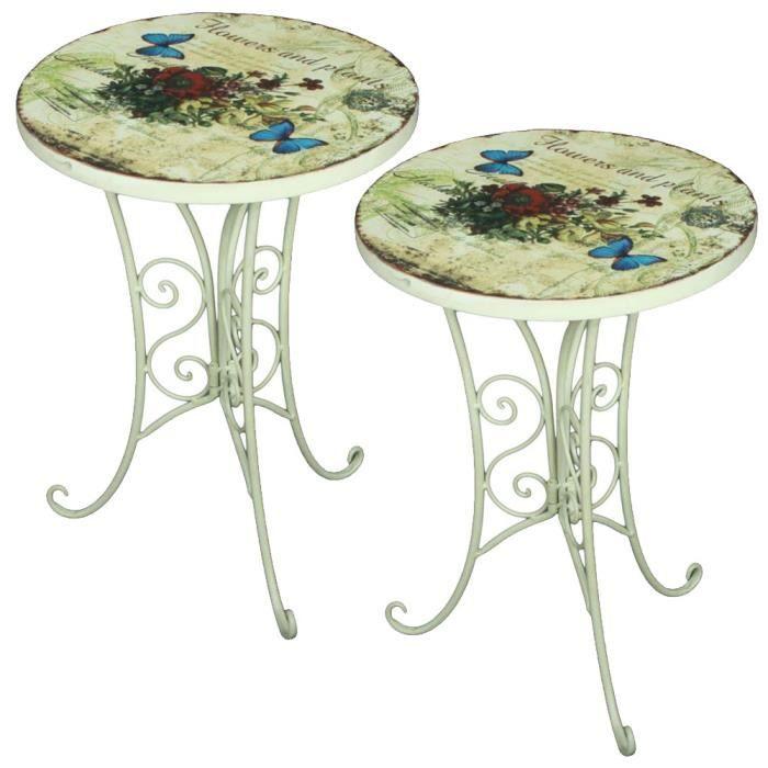 2x table bistrot, design fleur, papillon, blanc antique, D 38 cm