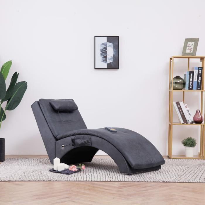Fauteuil de massage Relax Massant Chaise longue de massage Relaxation avec oreiller Gris Similicuir daim