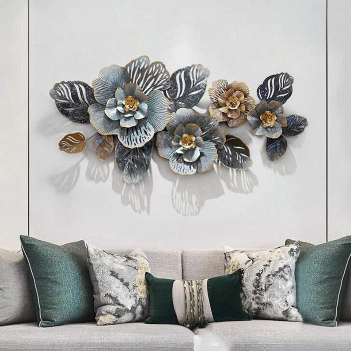 Décoration Murale Fleur en Fer Forgé en Métal, Moderne Luxe Léger Art De Fer Décoration Murale pour Salle D'étude-Salon-Chambre À377