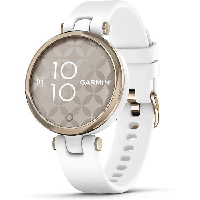 Garmin Lily édition sport – Petite montre connectée pour femmes – suivi forme et santé, autonomie longue durée – White / Cream Gold
