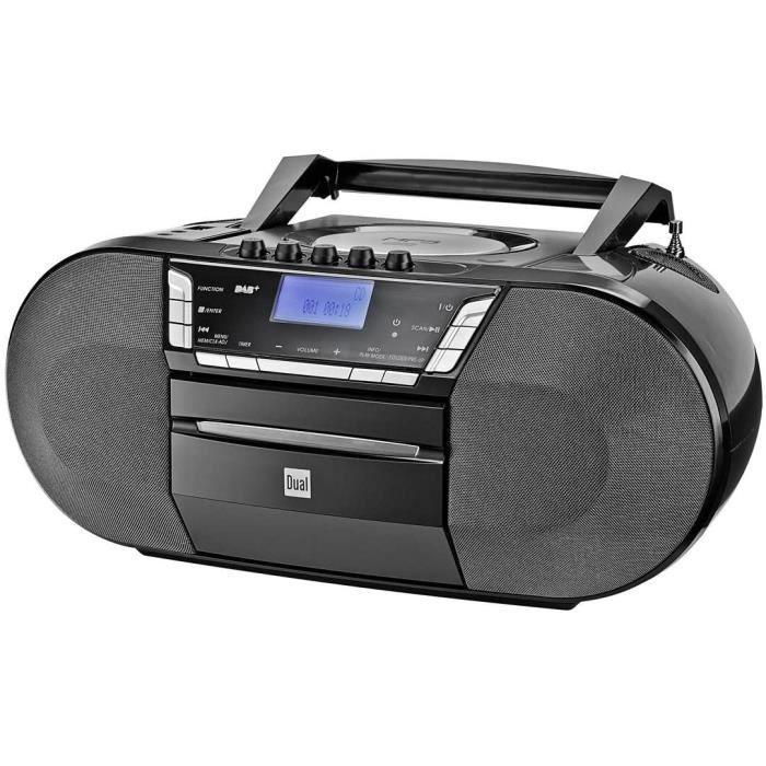 Dual Dab-P 200 Lecteur CD MP3 avec Lecteur de Cassettes, Dab+/Radio FM, Port USB, Prise Casque, entrée auxiliaire AUX-in, Noir