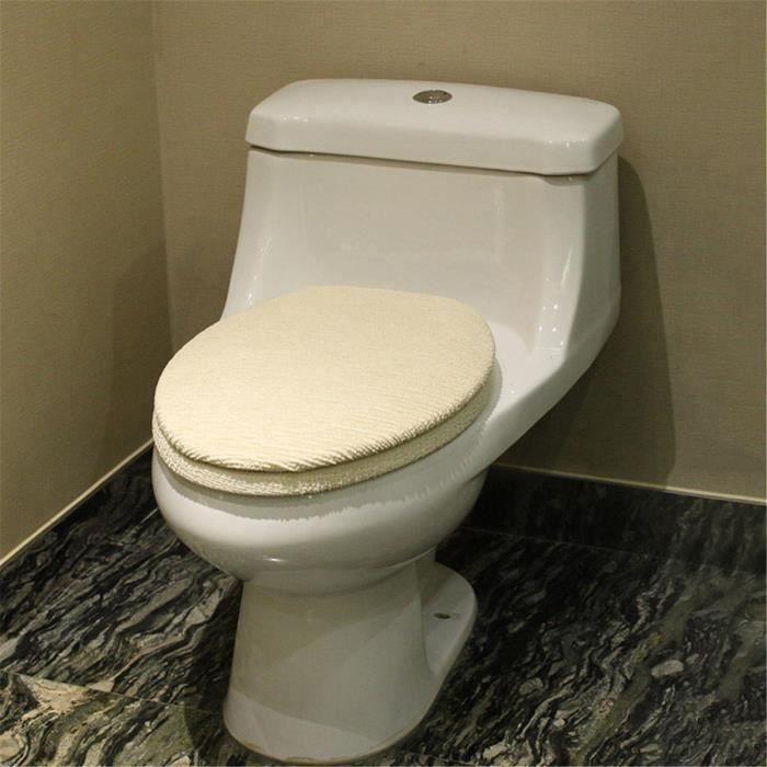 2pcs WC Siège Toilettes Lunette Coussin Mat Couverture Lavable Couvercle Cuvette Beige Ve07385