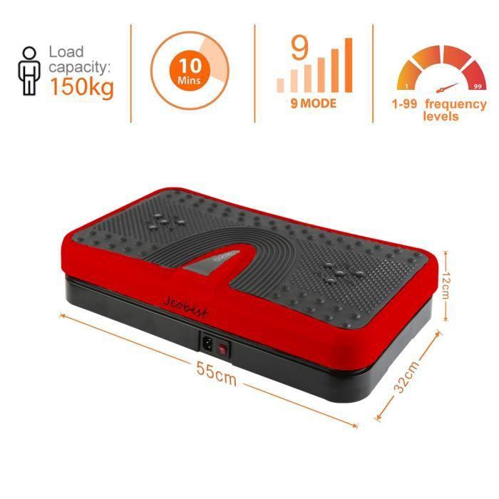 200W Home Vibration Plate Plateforme vibrante oscillante - Rouge/Noir