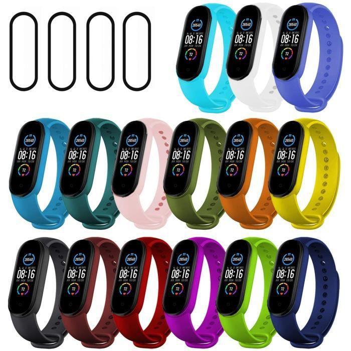 Ferilinso 15 Pack Strap Bracelet pour Xiaomi Mi Band 5 + 4 Pack Protection d'écran, Bracelet de Remplacement en Silicone, Brassard d