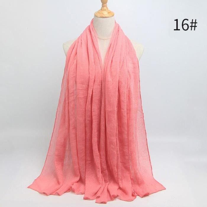 Foulard hijab en coton froissé, écharpe douce, écharpe chaude, écharpe chaude, châle, 25 couleurs, Design hiver, tendanc DY5168