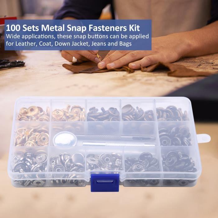 100 ensembles de boutons-pression en métal Kit boutons-pression boutons-pression avec outils de fixation pour cuir, manteau HB046