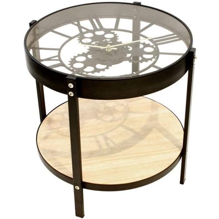 TABLE BASSE SALON Home Deco Factory HD6446 Table Basse d'Appoint Ronde Horloge Noir Beige et Transparent M&eacutetal Bois et Ver6