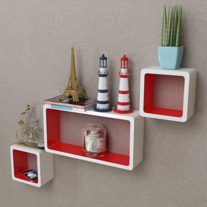 3 Etagères cubes murales et en MDF Blanc-Rouge pour DVD-Livres