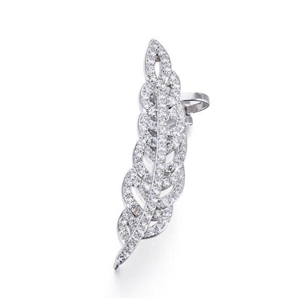 Boucles Bague d'Oreilles Plume orné de cristaux de Swarovski Blanc et Plaqué Rhodium