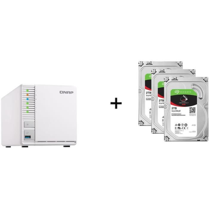 QNAP - Serveur Stockage (NAS) - TS-328 - 3 Baies + 3 Disque dur Interne - NAS Iron Wolf - 2To - 5 900 tr/min - 3.5- (ST2000VN004)