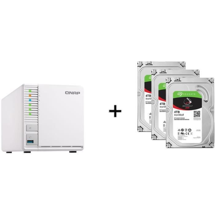 QNAP - Serveur Stockage (NAS) - TS-328 - 3 Baies + 3 Disque dur Interne - NAS Iron Wolf - 4To - 5 900 tr/min - 3.5- (ST4000VN008)