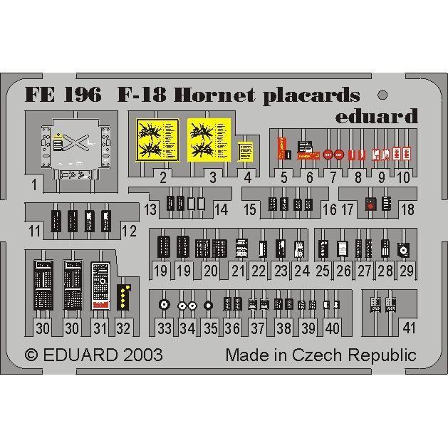 MAQUETTE F 18 HORNET PLACARDS 1/48 EDUARD FE196