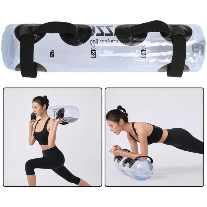 UNE® Sac de poids de l'eau 20kg Entraînement musculaire Entraîneur d'équilibre en PVC transparent pour l'exercice de sport à domic