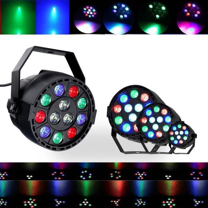 Jeux de lumières 4 DJ LIGHT PAR MINI à LEDs RGBW 12X3W DMX + étrier de fixation