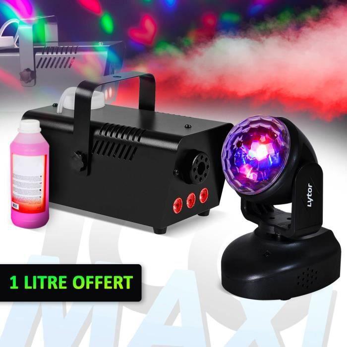 Mini Machine à fumée à LEDs rouges 400W + Tél + 1 Litre + Lyre à LEDs Magic Ball