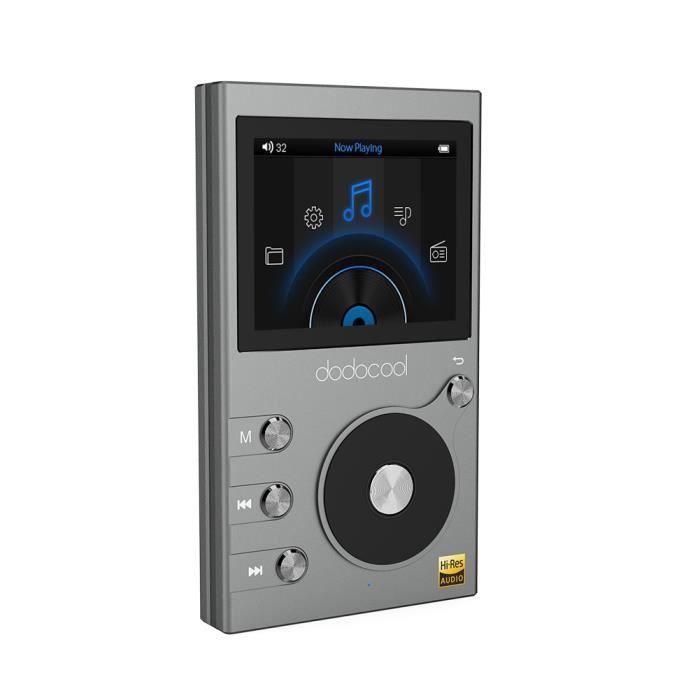 dodocool 8GB Hi-Res Lecteur de Musique Audio Digital sans perte Hi-Fi avec Enregistreur vocal LCD écran 2- et Extensible 256GB,Gris
