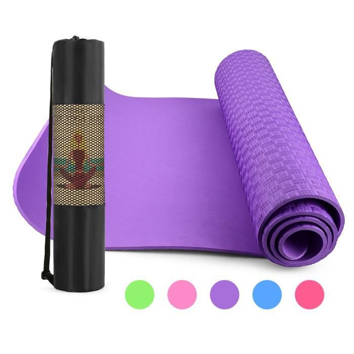 Tapis de yoga épais de 6 mm 72X24 pouces Pad de tapis d'exercice Pilates antidérapant avec sac de transport en maille pour Home -849