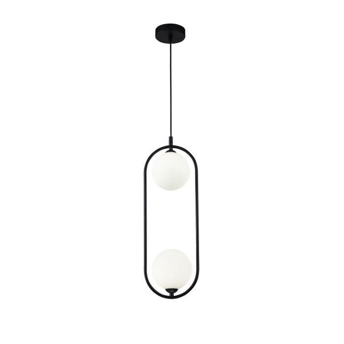 Suspension Design, 2 Lampes, Style Moderne, Art Deco, Armature en Métal couleur Noir, plafonnieres en verre couleur blanc, pour la