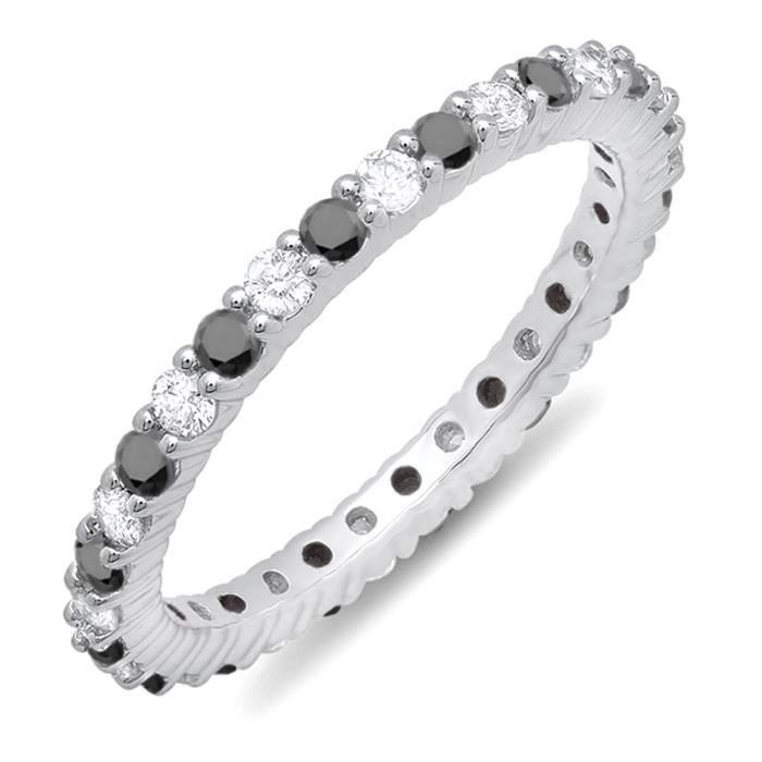 Bague Femme 1.00 ct 18 ct 750-1000 Or Blanc Rond Noir Diamants Éternité 1 ct