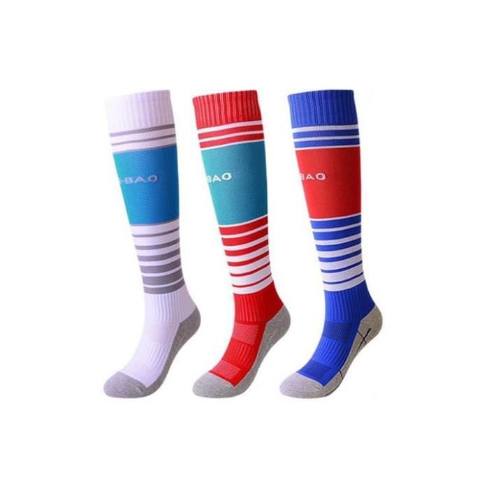 Lot de 3 Paires Chaussettes de Football Enfant Chaussettes de Sport Protection Respirantes Antidérapant - Blanc rouge blue