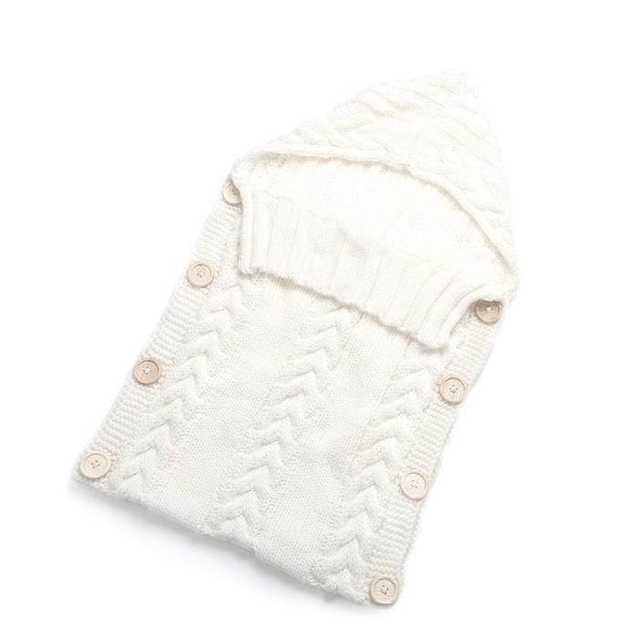 Sac de couchage Nouveau-né Bébé Fibres acryliques Hoodies Swaddle Wrap Sweater avec bouton - Blanc