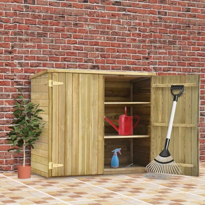 Economique Abri à outils de jardin 135x60x123 cm Pinède imprégnée