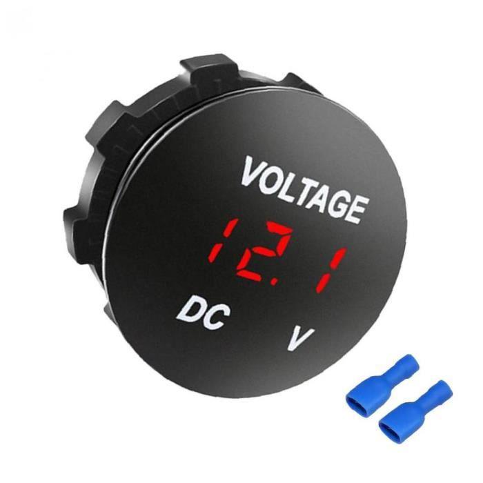 Voltmètre de voiture Panneau rouge LED Affichage 12-24V DC Bateaux de moto Compteur de tension de la batterie