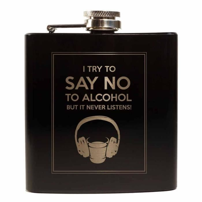 Flasque Alcool whisky inox 6 oz - Noir - No