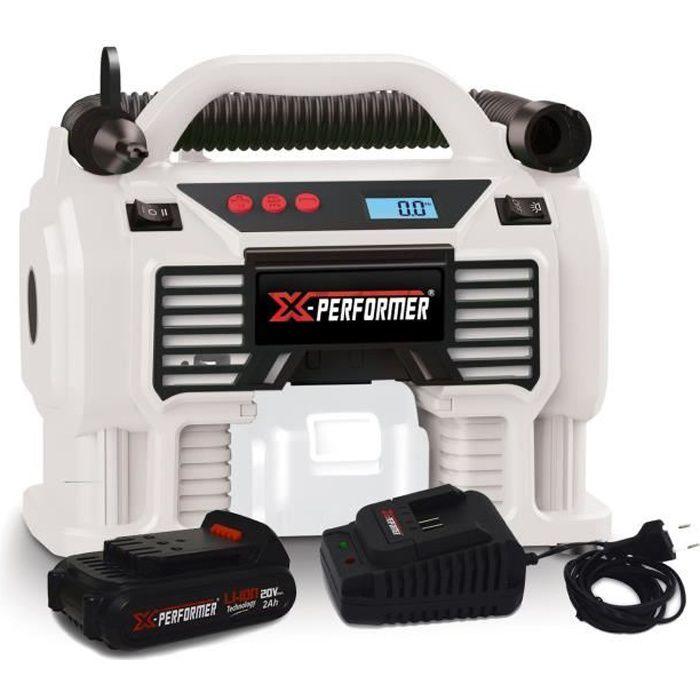 Gonfleur - Mini Compresseur - X-Performer XP2AIR20LI - sans fil 20V/12V - Pression 11 bar - Batterie 2Ah et chargeur inclus