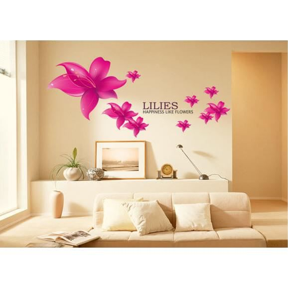 stickers muraux lis mauve clair fleurs achat vente stickers c ramique pvc cdiscount. Black Bedroom Furniture Sets. Home Design Ideas