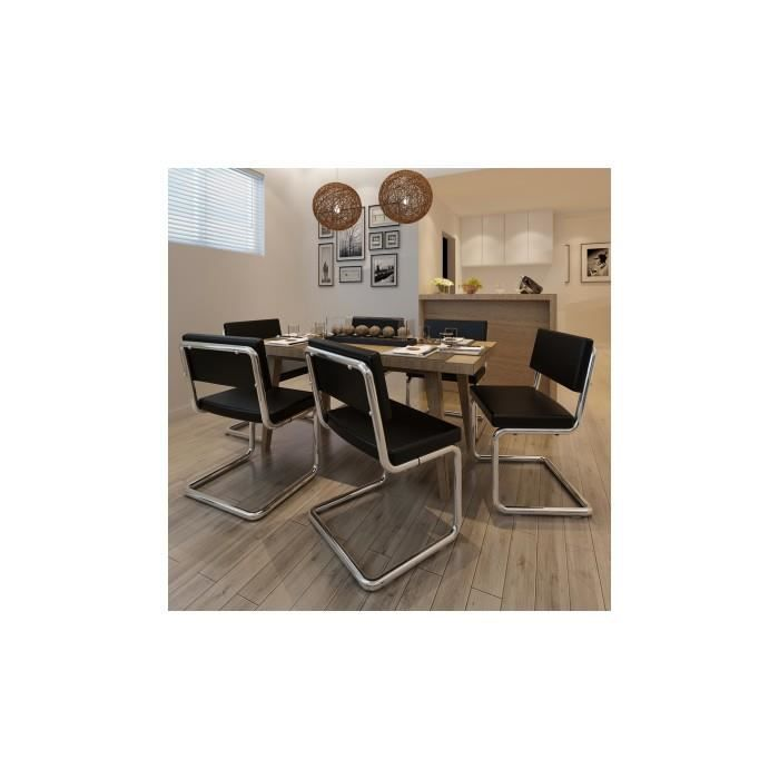 Set de 6 chaises de salon design et moderne en pu cuir for Chaise de salon moderne