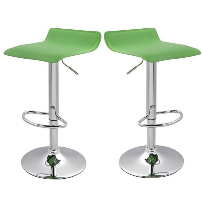lot de 2 tabourets de bar vert hauteur r glable achat. Black Bedroom Furniture Sets. Home Design Ideas