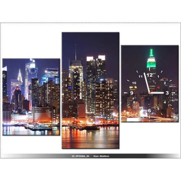 90 x 60cm new york horloge murale tableau moderne decoration new design achat vente. Black Bedroom Furniture Sets. Home Design Ideas
