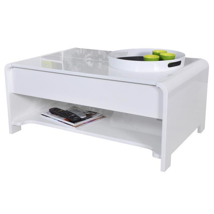 Table basse relevable blanc laqu montreal achat - Table basse laque blanc brillant ...