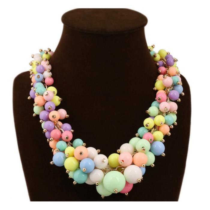collier de perles une couleur