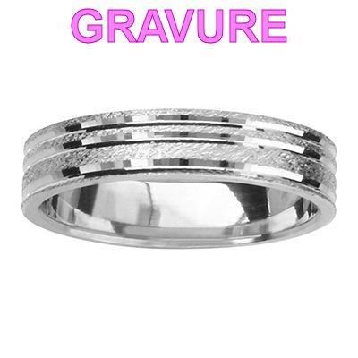 Bague Alliance Granit 4,5 mm Arg...