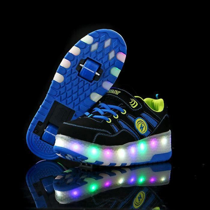Baskets Enfants LED Chaussures Lumineuse À Roulettes Garçons