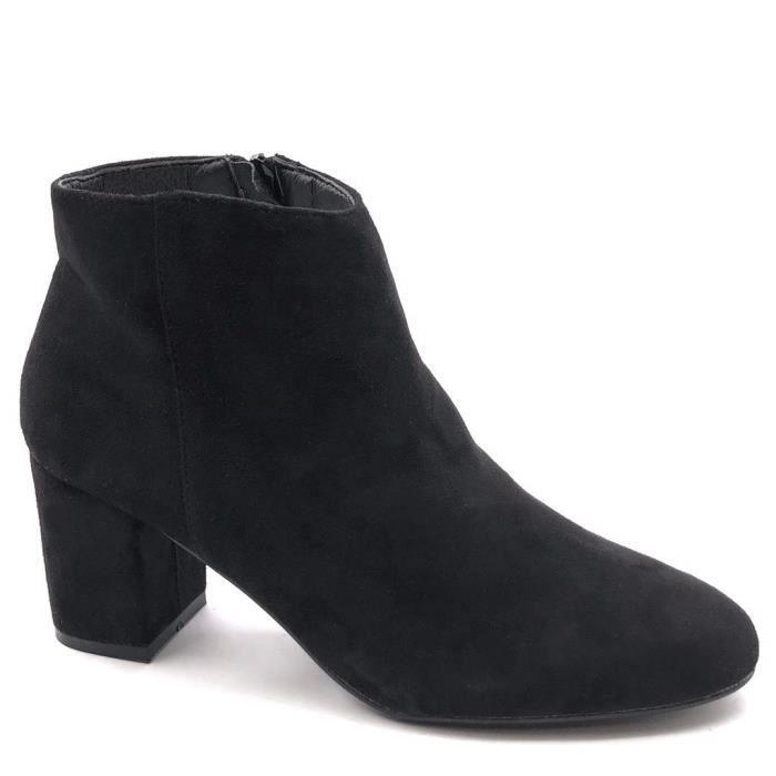 Botte Femme Talon Bloc Low 6 Moderne Bottine CM Haut Boots Mode Chic 5 Intérieur Fourrée BCxoeQrdW