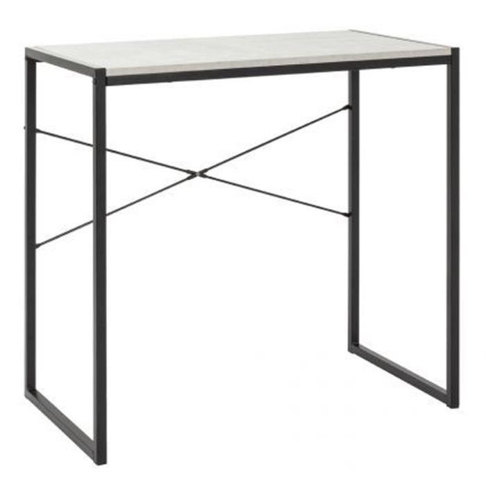 TABLE DE JARDIN  Bureau en acier et MDF coloris noir-optique béton