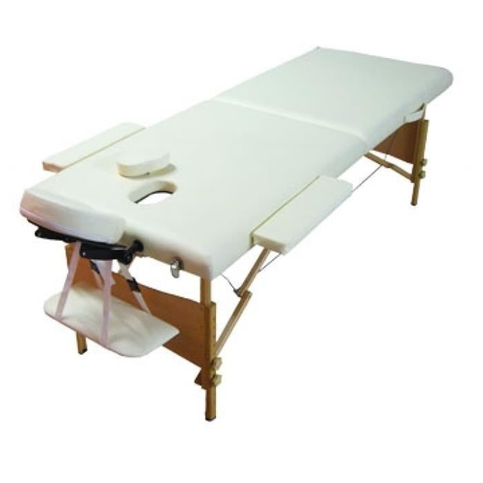 Table de massage pliante bois 2 zones blanc cr me achat vente table de massage table de - Table de massage pliante bois ...