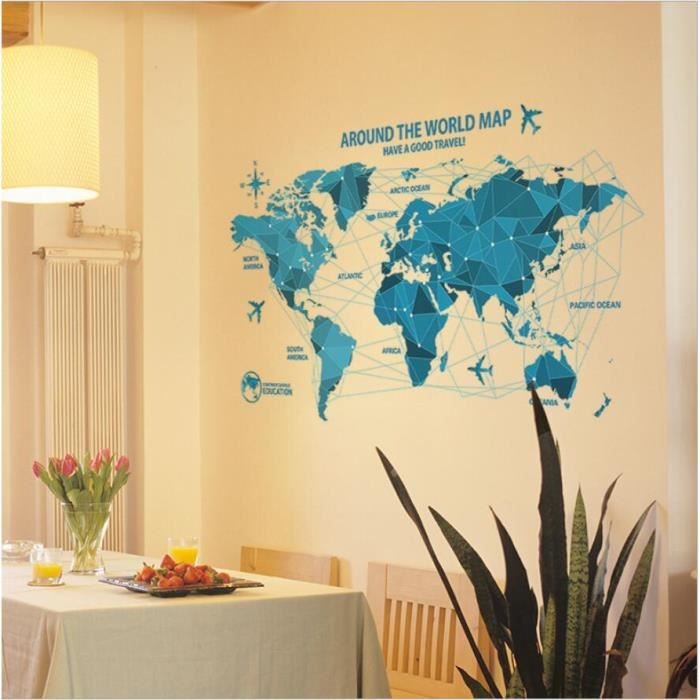 carte du monde stickers muraux origami mobilier de bureau de travail autocollant amovible. Black Bedroom Furniture Sets. Home Design Ideas