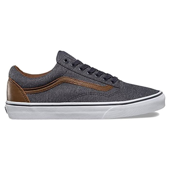 40 Old brown Vans Fashion Shoes Skool Ct4mb Denim Taille Sneakers Women's Leather wkPX0ON8n