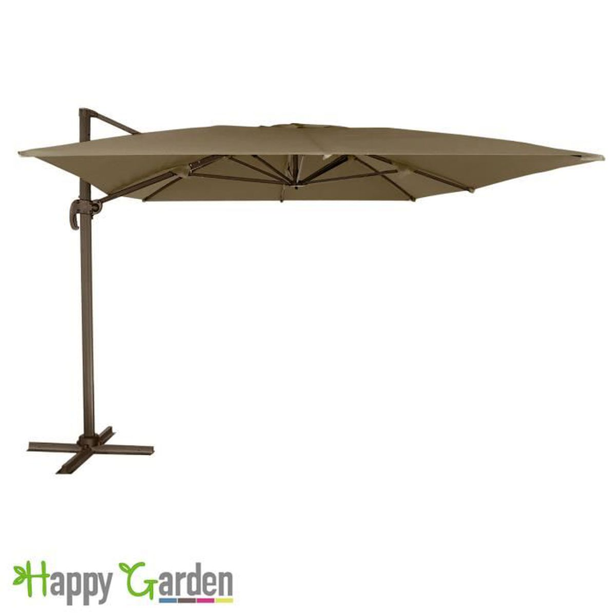 Parasol d port molokai rectangulaire 3x4m taupe m t marron achat vente - Parasol deporte rectangulaire inclinable ...