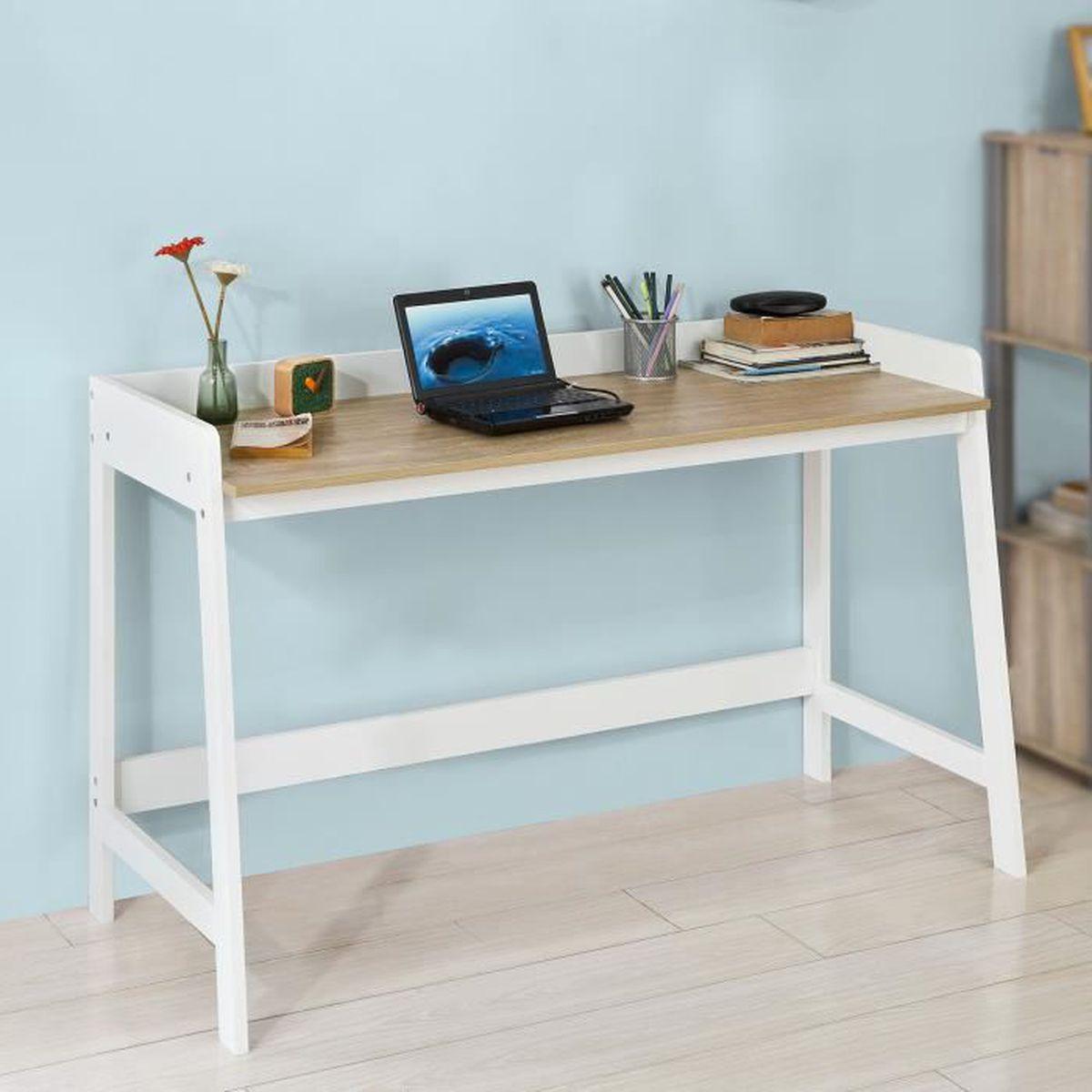 Bureau Plan De Travail sobuy® fwt41-wn bureau informatique secrétaire table pour ordinateur  conception simple plan de travail