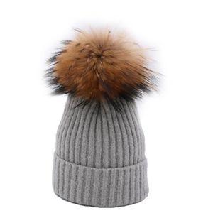 BONNET - CAGOULE Bonnet Femme Tricot Bobble d'hiver Chaud avec Pomp